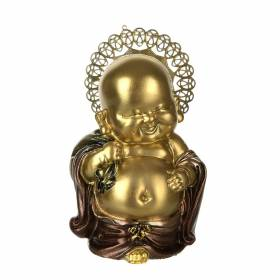 STATUE Buddha Gold with Halo 11.5x7.5cm