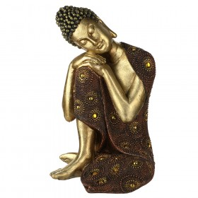 STATUE Buddha Head On Knee Gold/Red 32.5x23.5cm