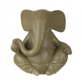 STATUE Ganesha with Orb Brown 16x15cm