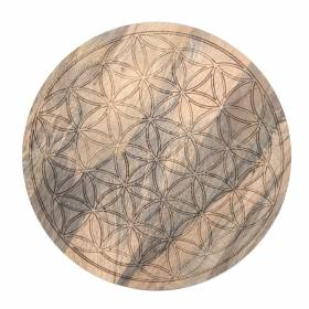 CRYSTAL GRID Acacia Wood Flower Of Life 30cm