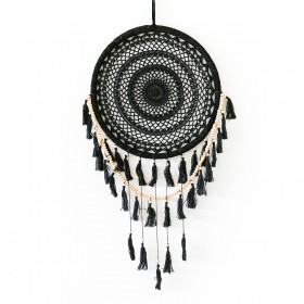 DREAMCATCHER Black Crochet with Tassles 40x95cm