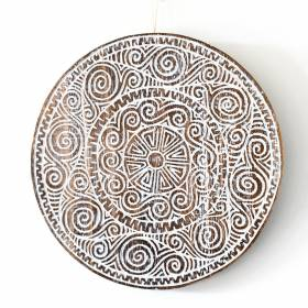 PLAQUE Wood Chakra Pattern White Wash 23.5x1.8cm
