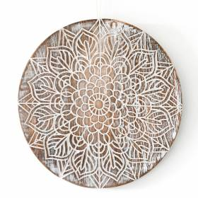 PLAQUE Wood Chakra Floral Pattern White Wash 23.5x1.8cm