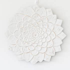 PLAQUE Wood Chakra Lotus Pattern White Wash 40x3cm