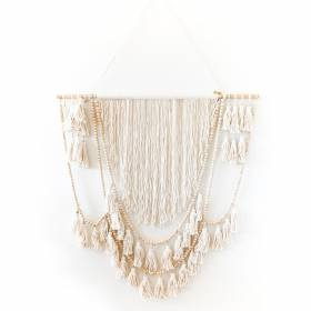 WALL HANGING Macrame Cotton Cream with Beads/Tassles 100x140cm