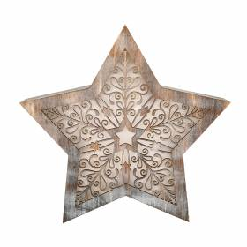 STAR with LED Antique White Carving 24x5x23cm