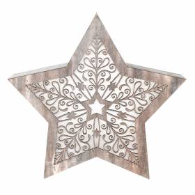 STAR with LED Antique White Carving 34x6x32cm