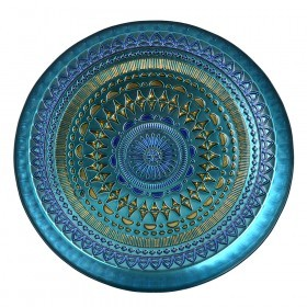 TRAY Glass Mandala Coffee/Cobalt 35cm