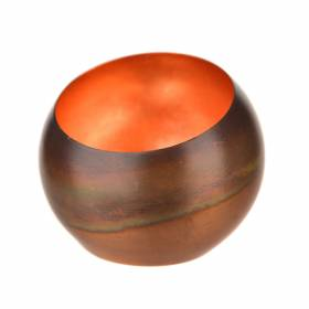 TEALIGHT HOLDER Copper with Leafing 8cm