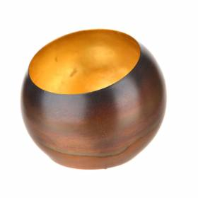TEALIGHT HOLDER Copper with Gold Leafing 8cm