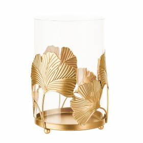 TEALIGHT HOLDER Ginko Gold 17x11cm
