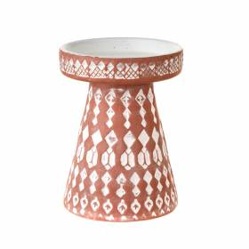 CANDLE HOLDER Terracotta/White 14x10.5cm