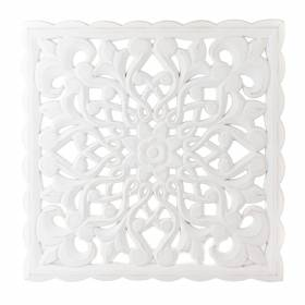 WALL HANGING Square MDF Floral White 49cm