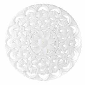 WALL HANGING Round MDF Floral White 50cm
