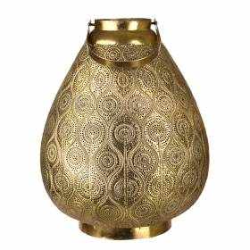 LANTERN Metal Paisley Antique Gold 42.5x32.5cm