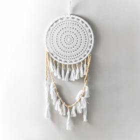 DREAMCATCHER White Crochet with Tassles 32x90cm