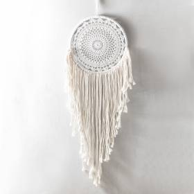 DREAMCATCHER White Crochet with Cream Macrame 27x95cm