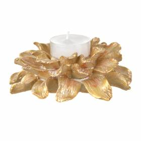 TEALIGHT HOLDER Flower Gold 11.5cm