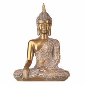 STATUE Buddha Sitting Floral Gold/White 24.5x17.5cm