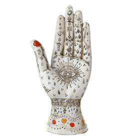 STATUE Hand White/Brown Palmistry 26x12.5cm