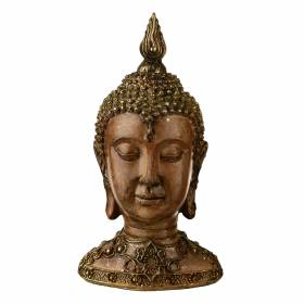 STATUE Buddha Head Natural/Bronze 24.5x13.5cm