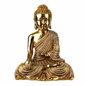 STATUE Buddha Sitting One Hand In Lap Gold/Bronze 17.5x14cm
