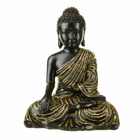 STATUE Buddha Sitting One Hand In Lap Gold/Black 17.5x14cm