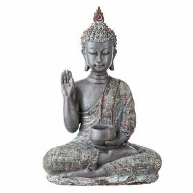 STATUE Buddha Sitting One Hand Raised White/Natural 34.5x23.5cm