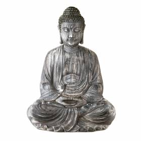 STATUE Buddha Sitting Hands In Lap Antique Grey 58x45cm