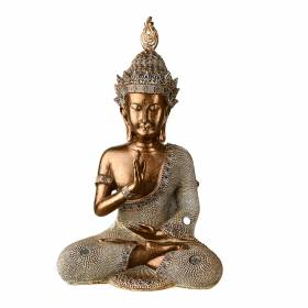 STATUE Buddha One Hand Prayer Bronze/Cream 29x17.5cm