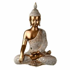 STATUE Buddha One Hand In Lap Bronze/Cream 36x25cm