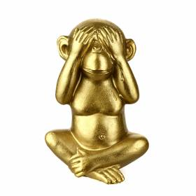 STATUE Monkey See No Evil Gold 13cm