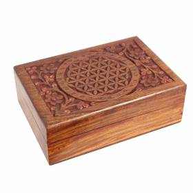 BOX Wooden Carved Flower Of Life 18x13cm