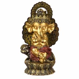 STATUE Ganesha On Mouse Gold/Red 25x13cm