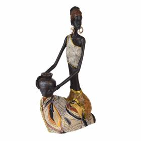 STATUE African Lady Sitting with Jug Brown/Orange 30.5x15cm