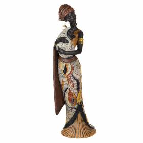 STATUE African Lady Standing with Baby Brown/Orange 42x16cm