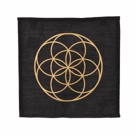 CRYSTAL GRID Square Cotton Seed Of Life Black 30cm