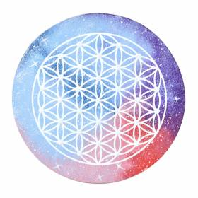 PLAQUE Wood Flower Of Life Soft Galaxy 24cm