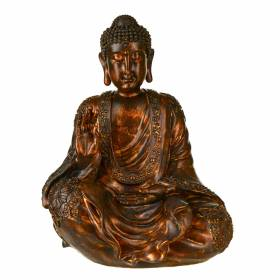 STATUE Buddha Sitting Hand Raised Antique Brown 35.5x27.5cm