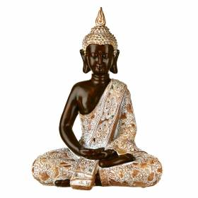 STATUE Buddha Sitting Hands In Lap Natural/Brown 39.5x30.5cm