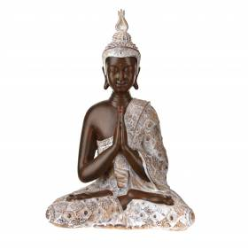 STATUE Buddha Sitting Hands In Prayer Natural/Brown 31x20.5cm
