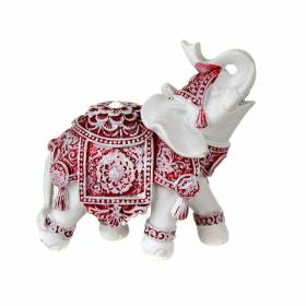 STATUE Elephant White/Red 9.5x9cm