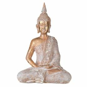STATUE Buddha Sitting Hands In Lap Rose/White 40x27cm