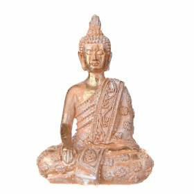 STATUE Buddha Sitting One Hand In Lap Rose/White 15x10cm