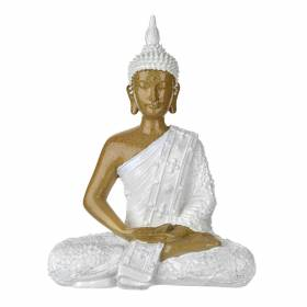 STATUE Buddha Hands In Lap Natural/White 28x21.5cm