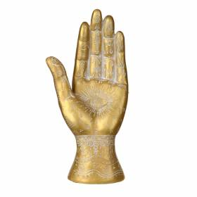 STATUE Hand Palmistry Gold/White 26x12.5cm