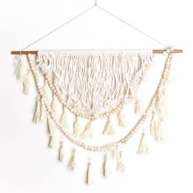 WALL HANGING Macrame Cotton Cream with Beads/Tassles 60x83cm