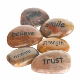 INSPIRATION STONE Word White 6-8cm Assorted