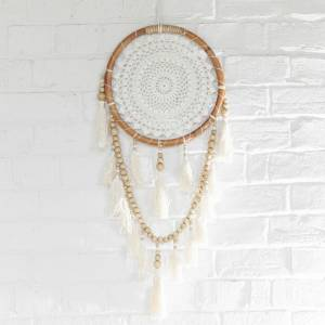 DREAM CATCHER Crochet White/Tan Hanging Tassles Beads 33x93cm