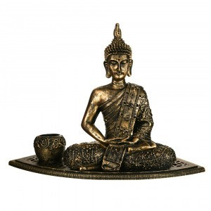 TEALIGHT HOLDER SET Buddha Antique Gold 38.5x31cm